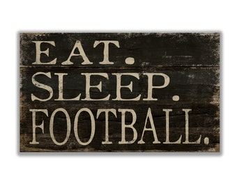 "Ea. Sleep Football block wooden sign 10""x6""x2""  football decor coach's gifts football signs football plaques sports signs football lovers"