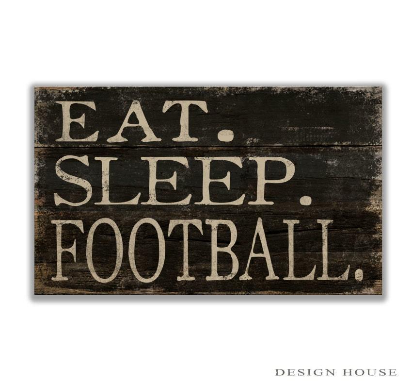 Sleep Football Block Wooden Sign 10 X6 X2 Football Decor Coach S