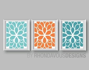 Flower Wall Art. Teal Blue Orange Turquoise Dahlia Flower Print Trio. Bathroom Art. Bedroom Art. Bath Art. Home Wall Art Bedroom NS-689