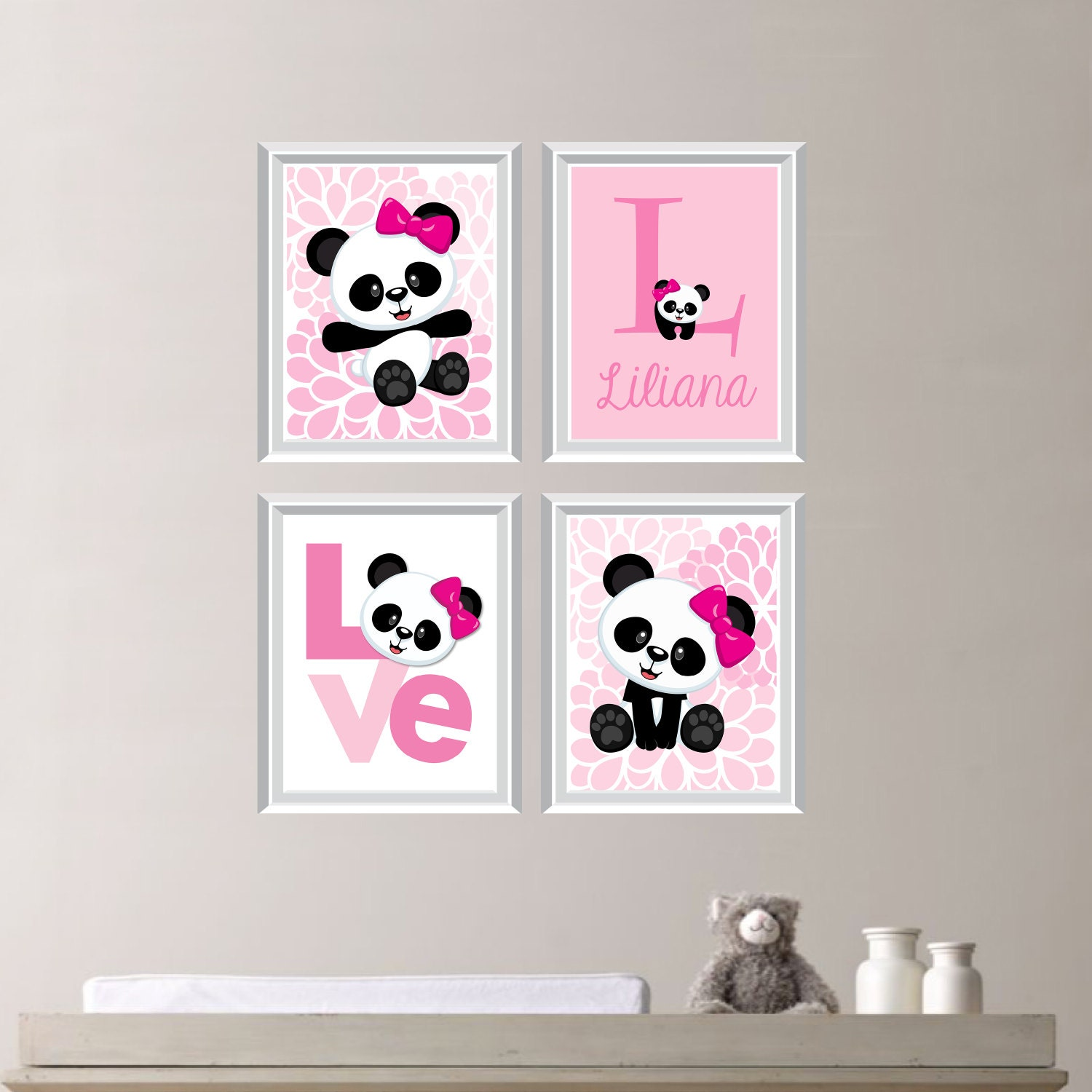 Baby girl nursery art print panda bear nursery prints for Panda bear decor