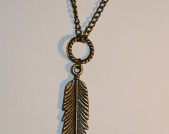 Antique Gold Feather Necklace