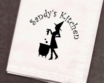 Personalized Halloween Kitchen Dish Towel - Custom Witch Towel -  Tea Towel, Dish Cloth, Flour Sack Towel, Hostess Gift, Halloween Decor