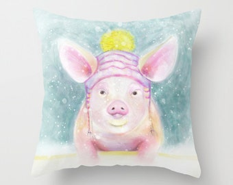 Cute Pig Throw Pillow, Adorable Nursery Pillow for Kids Room, Square Pig Pillow, Pink and Blue Pillow, Nursery Pillow, Pig Accent Pillow