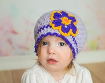Toddler crochet hat, 2T lavender beret, flower girly hat, 3T made to order, crochet shop, crocheted child hat, custom made, child adult size