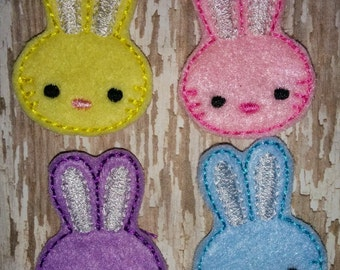 Set of 4 Girly Bunny Heads Faces Rabbit Easter Feltie Felt Embellishment Bow! Birthday Party Planner Clip Easter Bunny Felties
