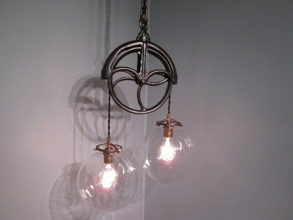 Vintage Industrial Light Pulley Pendant By VintageIronworks