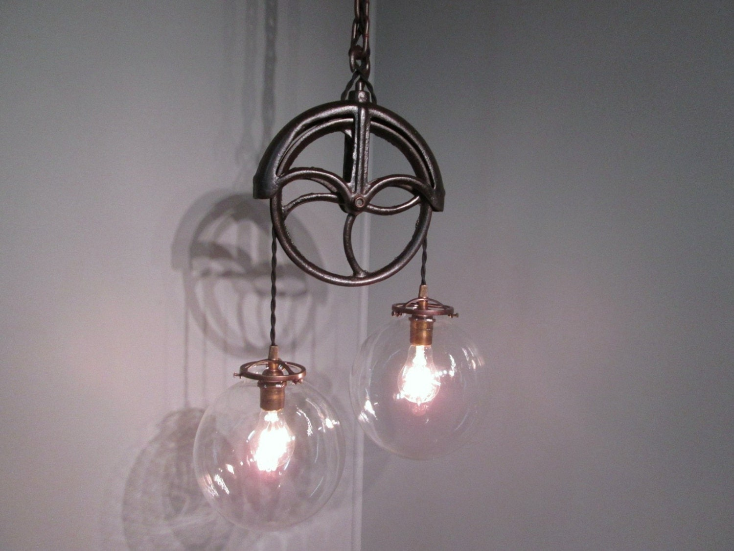 vintage industrial light pulley pendant ceiling light with