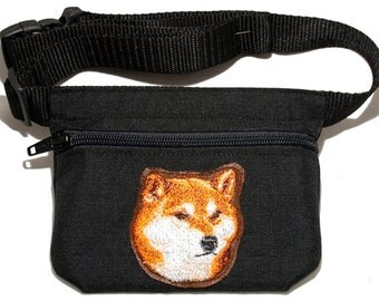 Shiba Inu (Siba Inu) dog  embroidered dog treat waist bag (treat pouch). For dog shows, training and walking. Great gift for dog lovers.
