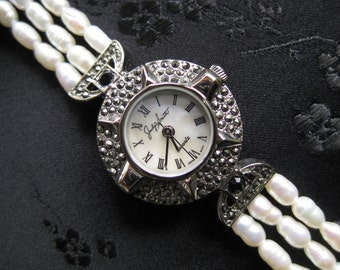 Stunning 1980's Marcasite with Triple Strand Freshwater Pearls Watch