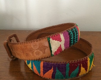 vintage southwestern guatemalan woven leather belt