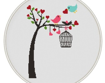Birds on tree Counted cross stitch pattern, Instant Download, Free shipping, Cross-Stitch PDF, Valentine's day cross stitch, MCS017