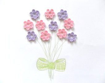 Flower applique, Crochet flowers, Decorations, Yarn flowers, gift embellishments, set of 5