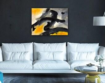 Abstract painting,Large abstract,big painting,Hand Painted,black grey abstract,yellow black abstract,original Painting,hanging wall art,art