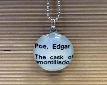 Reversible Library Card Necklace Edgar Allan Poe The Cask of Amontillado