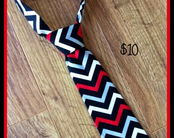 Little Boy Necktie / Handmade Little Boy Neck Tie ~ Chevron Red Black Grey