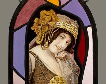 Seduction Stained Glass Suncatcher, seduction suncatcher, victorian suncatcher, vintage stained glass, seduction stained glass, seduction