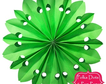 52cm GREEN PAPER ROSETTE / Fan / Hanging Decoration / Retro Kids Party Supplies / Wedding / Baby Shower