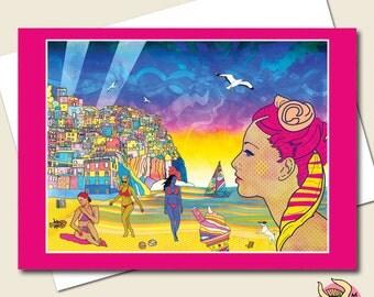Beach Card, Birthday Card, Greeting Card, Summer Card, Holiday Card, Teen Girls Card, Girlfriend Card, Girls Card, Wife Card, Mum Card