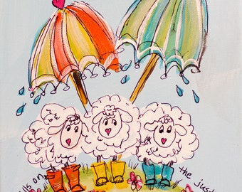 Sheep under Umbrella 8x10 canvas Ra in falls on just and unjust ...