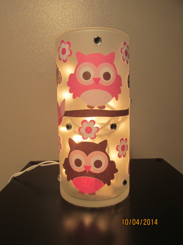 Owl Vase Night Light Pink And Brown By Nightlightsbylori