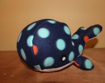 Blue and white polka dot stuffed whale/nursery decor