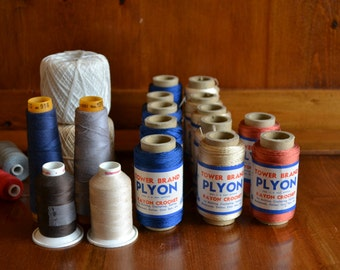 Vintage Lot of 20 Crocheting Thread Spools, Some from Europe