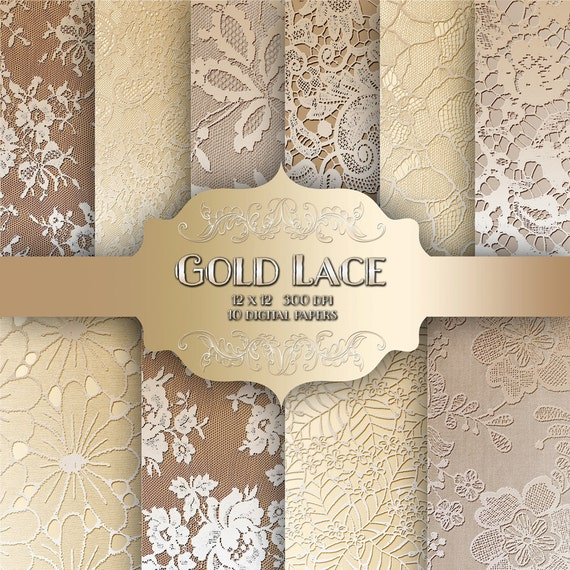 Gold LACE Digital Paper Pack Vintage Wedding Metal Gold Lace