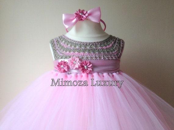 Pink Flowergirl dress, tutu dress, pink bridesmaid dress, princess dress, silk crochet top tulle dress, hand knit silk top tutu dress