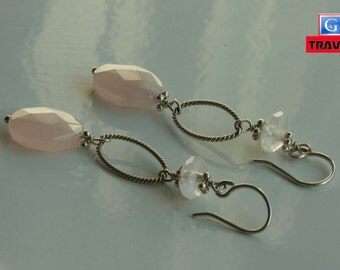 Unique Sterling Silver Rose Quartz Dangle Earrings handmade FREE Continental US shipping