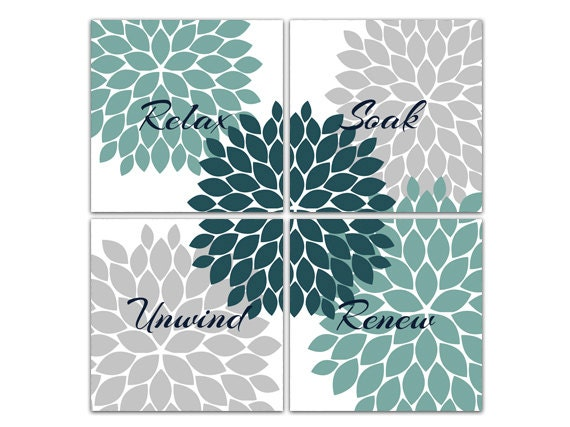 Teal grey bathroom decor bathroom wall art relax soak for Teal and grey bathroom sets