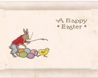 """Antique Easter postcard, """"A Happy Easter"""", embossed, smoking rabbit, sample model, never written"""