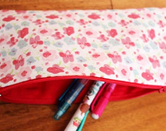 Pencil Case Flat shape, back to school!,  Australian made zipped with strap – Red flower