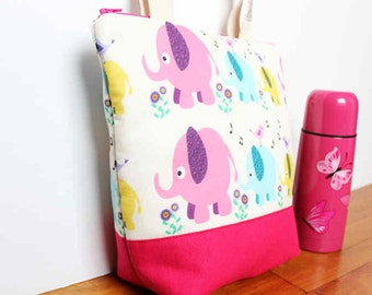 Insulated Lunch Bag / lunch Tote, Personalised, Australian made, zipped, Waterproof lining – Medium or Large, Pink Elephant