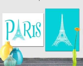 Eiffel Tower Art Turquoise, Paris Print, Instant download, Printable 8x10