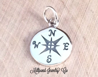 Compass Charm, Compass Pendant, Sterling Silver Charm, Silver Compass, Necklace Charm, Nautical Charm, Nautical Pendant, PS0110
