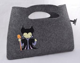 Felt Hand Hande Made Bag with Little Maleficent