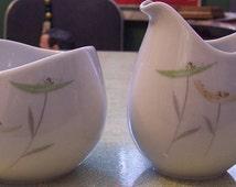 Vintage Thomas Germany china sugar and creamer mid-century floral pattern