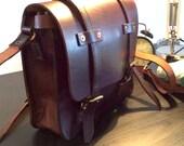 Antique style leather messenger bag satchel briefcase attache case
