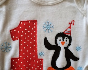 Penguin Birthday Shirt-Long sleeve