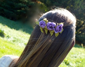 Purple Rose Barrette, Rose Barrette, Purple Barrette, Rose Hair Accessories,