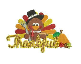 Thankful Turkey with pumpkin Thanksgiving Filled Machine Embroidery Digitized Design Pattern  - Instant Download - 4x4 , 5x7, 6x10
