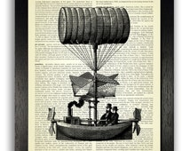 Steampunk Flying Ship Art Print, Steampunk Poster, Dictionary Art Print, Steam Punk Wall Decor, Upcycled Antique Book Page Art, Gift for Man