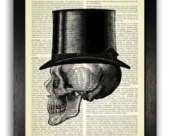 Skull in Top Hat Profile Wall Decor Art Print, Skull Art, Skull Dictionary Art Print, Skeleton Wall Art, Gothic Bedroom Decor, Gift for Man