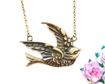 Vintage Flying Swallow Necklace