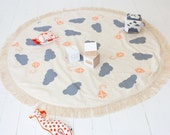 Play Mat Floor Rug Nursery Decor Handprinted Grey Peach Clouds and Kites