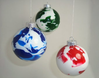 """6-Pack 3"""" Marbled Glass Ornaments"""