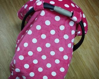 Pink polka dot, car seat canopy tent
