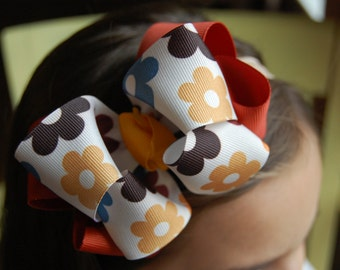 Autumn Themed Fall Stacked Boutique Flowered Bow.