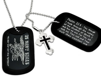U.S. Navy Seals Logo with Cross Military Style Dog Tag Necklace 24 Inches-AN061