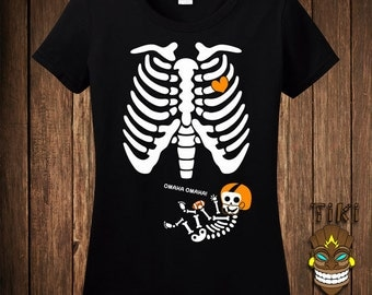 Funny Pregnant Skeleton Halloween Costume T-shirt Tee Shirt Pregnancy Maternity Football Player Trick Or Treat Treating Party Womens Ladies
